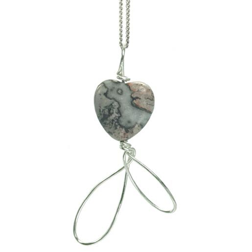 crazy lace agate heart necklace