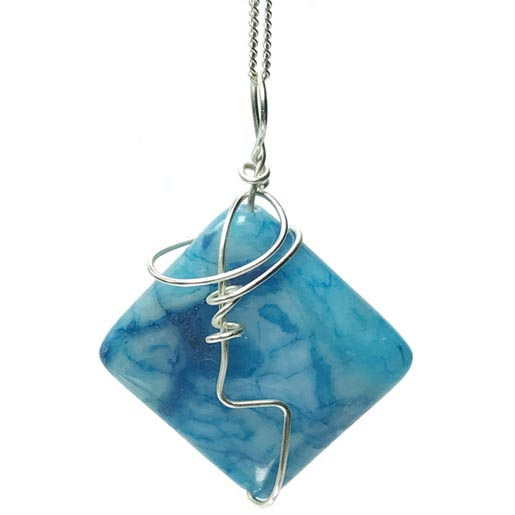 square light blue agate necklace