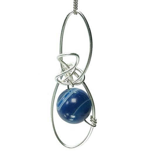 striped blue agate necklace