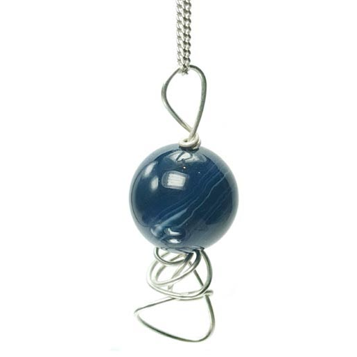 stripy blue agate drop pendant