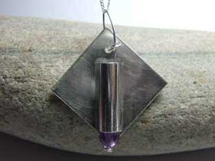 amethyst jewellery solid silver necklace with tube soldered onto square