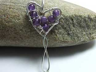 amethyst jewellery heart shaped handmade wire jewellery