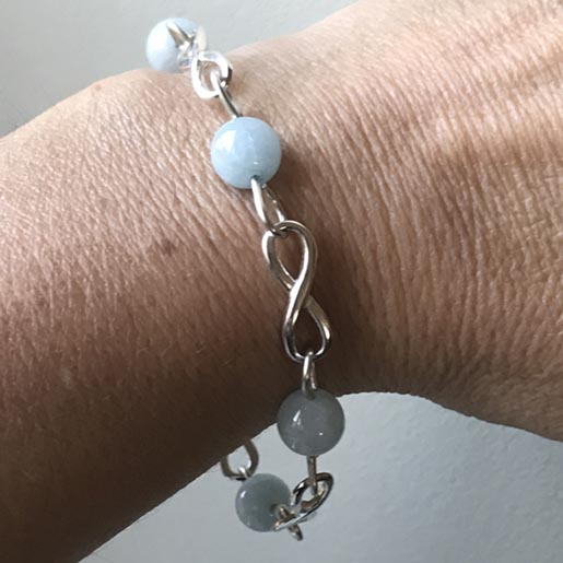 aquamarine infinity links bracelet