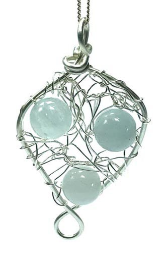 aquamarine jewellery knitted silver necklace