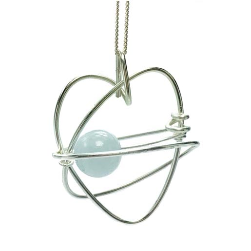 heart with aquamarine centre necklace