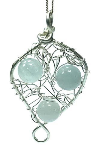 aquamarine crocheted silver jewellery