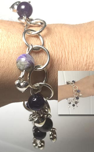 charoite and amethyst silver bracelet with heart charms