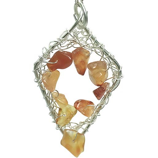 carnelian crocheted into frame jewellery