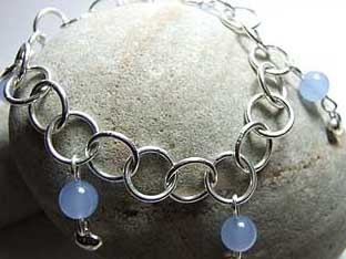 blue gemstone links bracelet