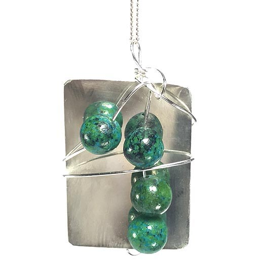 handmade silver and green jewellery