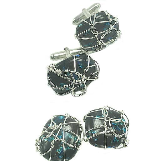 unusual glass cufflinks