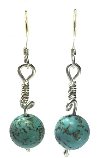 turquoise and silver handmade earrings