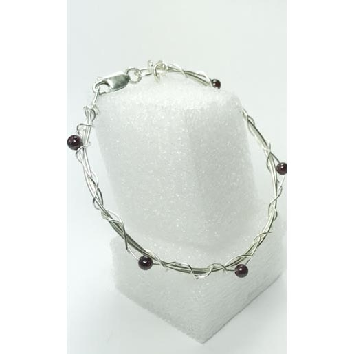 garnet and silver jewelry bangle