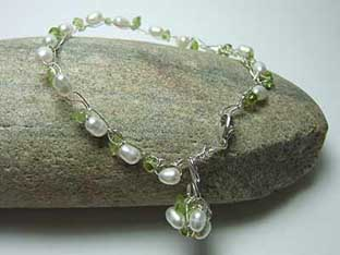 pearl and peridot silver wire crochet