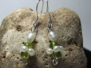 pearl and peridot earrings