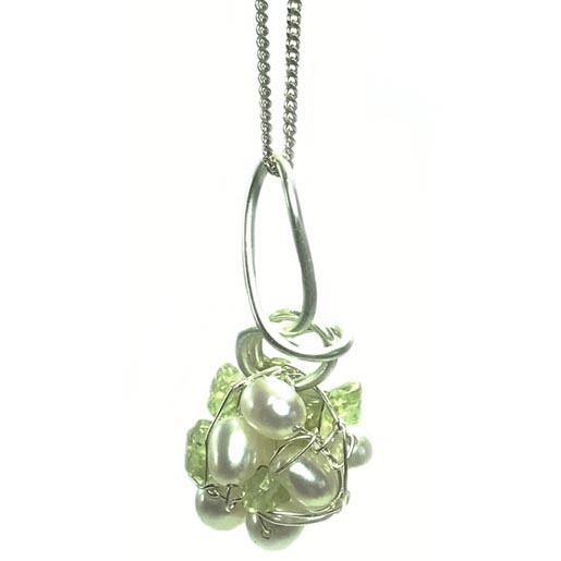peridot ball necklace