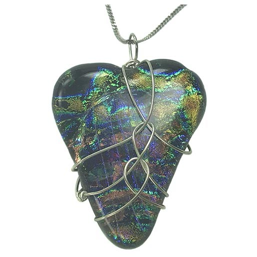 glass heart jewellery dichroic glass