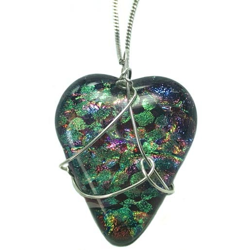 dichroic glass heart jewelry