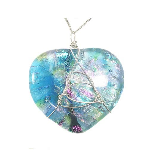 dichroic necklace blue