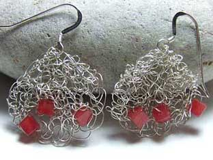 red jade knitted earrings