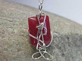 red jade rectangle pillow necklace