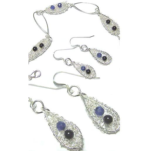 knitted silver bracelet and earrings set