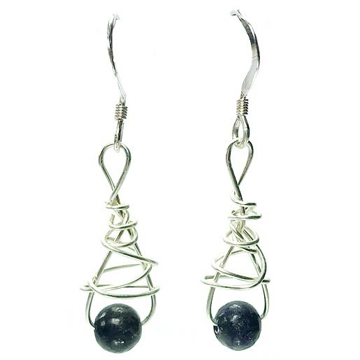 lapiz lazuli twisted silver earrings