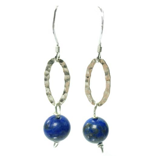 lapiz lazuli beaten silver earrings