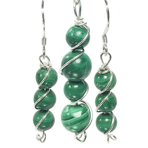 malachite earring and pendant set