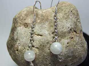 moonstone chain link earrings