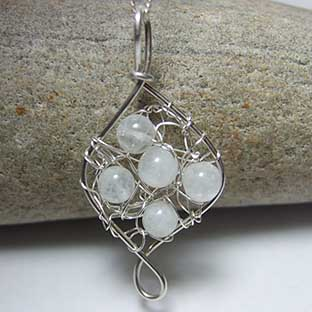 crocheted moonstone jewellery