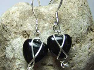 onyx heart earrings