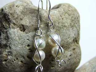 pair pearl earrings