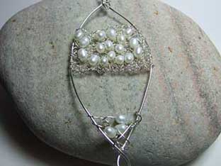 knitted silver and pearl pendant for brides
