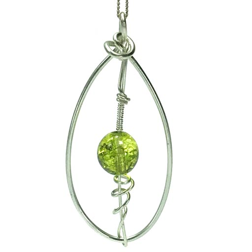 peridot oval necklace