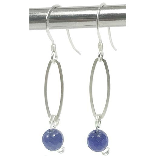 oval link sapphire earrings