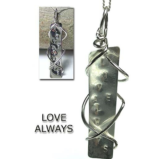 silver jewellery  with words love always