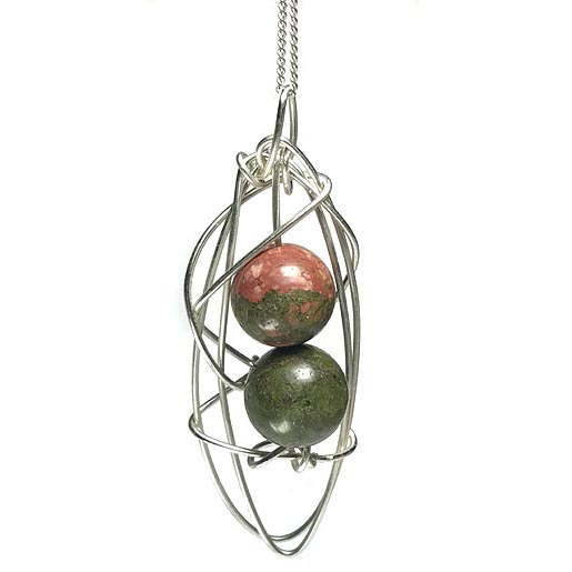 unakite and silver wire designed necklace